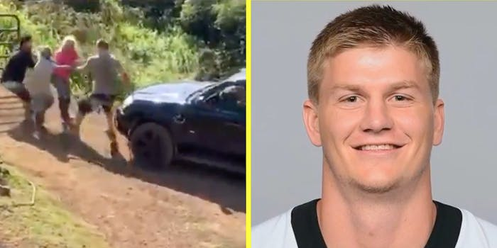 An altercation on a dirt road (L) and Mitchell Loewen looking into camera (R).