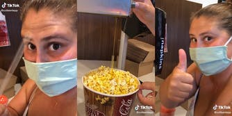 """woman holding straw (l) woman using straw to catch """"butter"""" stream in popcorn bucket (c) woman giving thumbs up (r)"""