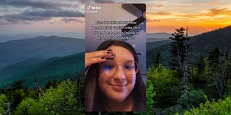 """woman with """"Can we talk about how people just vanish into thin air and are never found in U.S. national parks??"""" caption over forest sunset background"""