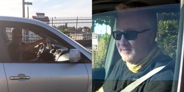driver gestures to pedestrian (l) driver leaving after realizing he is being taped (r)