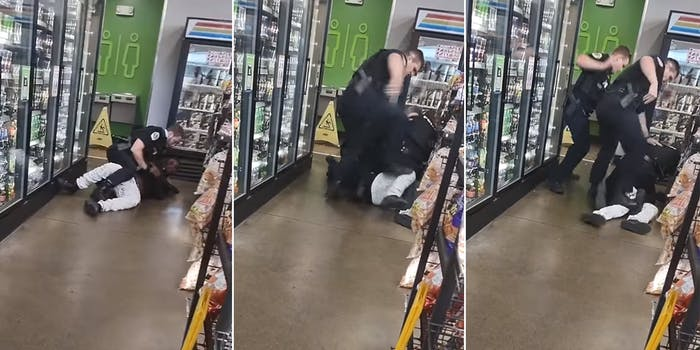 one police officer on top of man in store (l) police officer stomping on man's knee (c) multiple officers surround man, one stomping knee