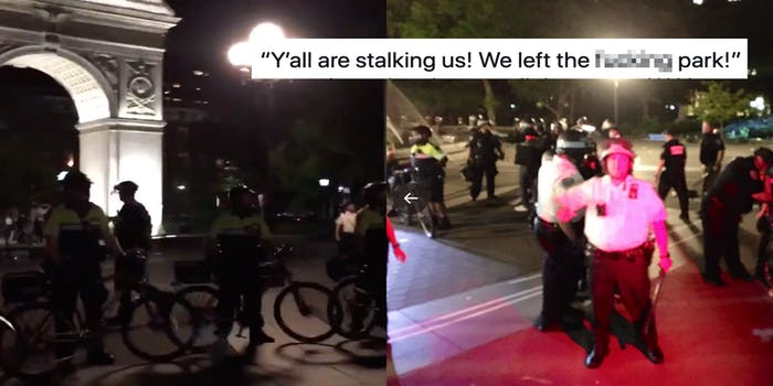 New York Police Officers show up in riot gear and on bikes to clear Washington Square Park after new curfew. Left side is line of officers on bikes. Right side is police standing and appearing to make arrests.