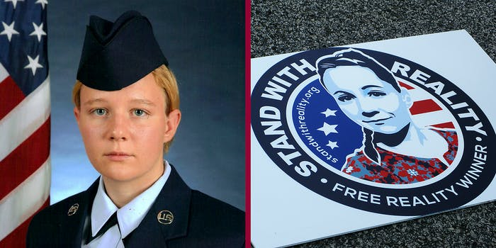 Reality Winner looking into camera (L) and an illustration of Reality Winner on a sign (R).