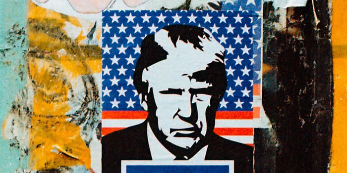 A poster with Trump on it.
