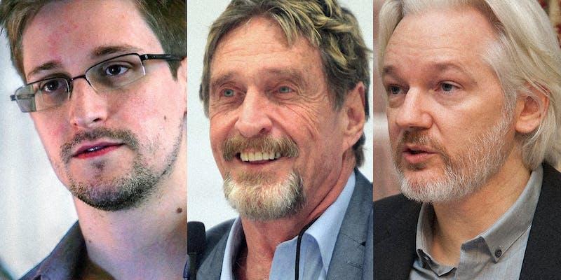Edward Snowden (L), John McAfee (C), and Julian Assange (R).