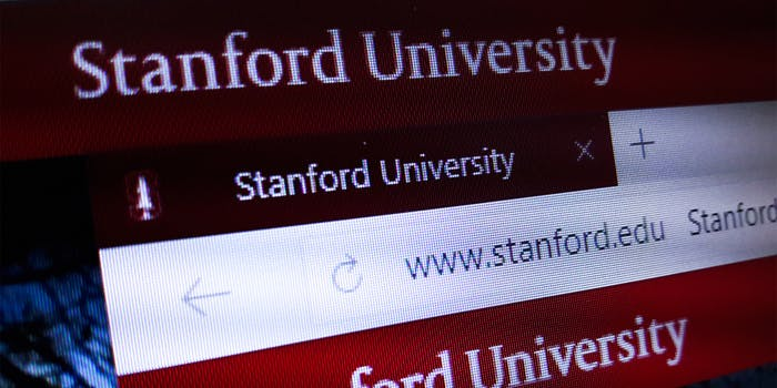 The homepage of the official website for Stanford University, a private research university in Stanford, California.