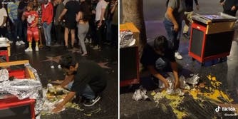 man cleaning spilled food from Hollywood walk of fame