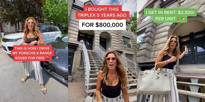 """woman in front of cars with """"This is how I drive my Porsche & Range Rover for free"""" caption (l) woman in front of staircase with """"I bought this triplex 5 years ago for $800,000"""" caption (center) woman in front of doors with """"I get in rent: $2500/per unit"""" caption (r)"""