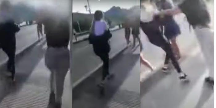 teen pushes friend car
