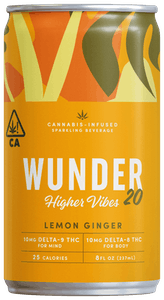 Wunder's Higher Vibes THC drink with CBD in the flavor lemon ginger