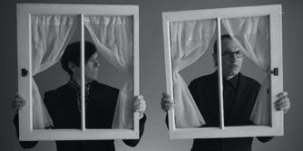 russell (left) and ron mael holding window panes