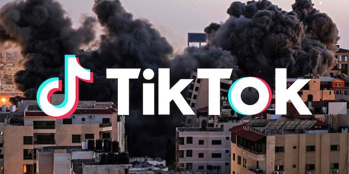 Gaza bombing with TikTok logo