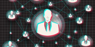 abstract men in suits in style of tiktok logo, connected by lines over grid background