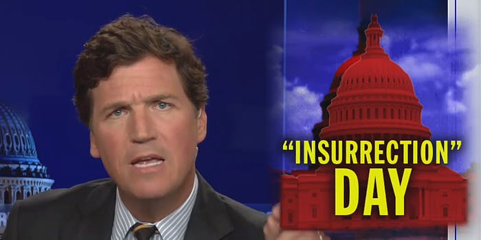"""Tucker Carlson with caption """"Insurrection day"""""""