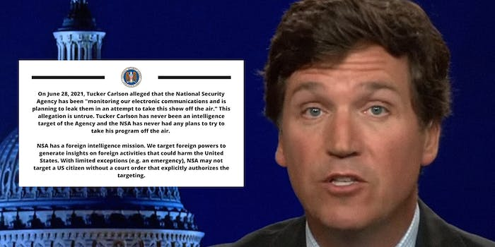 NSA statement rebutting Tucker Carlson's claim that the NSA was spying on him (inset) with Tucker Carlson's face