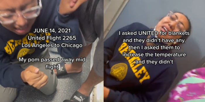"""woman sobbing on ground with caption """"June 14, 2021 United Flight 2265 Los Angeles to Chicago, My pom passed away mid flight (l) woman crying with caption """"I asked UNITED for blankets and they didn't have any, then I asked them to increase the temperature and they didn't"""""""