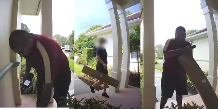 usps courier delivering a package, fedex employee dropping package, usps courier fixing packages