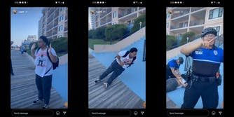 young man with hands raised (l) young man falling to ground clutching stomach (c) police officer smiling and pointing (r)