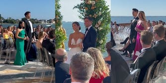couple stands up during wedding (l) couple getting married (c) another couple standing during wedding (r)