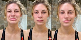 influencer hannah stocking doing the trend, seen crying, stone face, then smiling