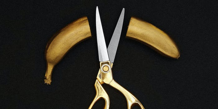 A banana cut with scissors.