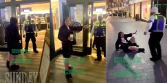woman throws drink at mcdonald's security