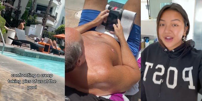 """young woman approaching man on chaise at pool with caption """"confronting a creep taking pics of us at the pool,"""" man looking at phone, and tiktoker @maiphammy"""