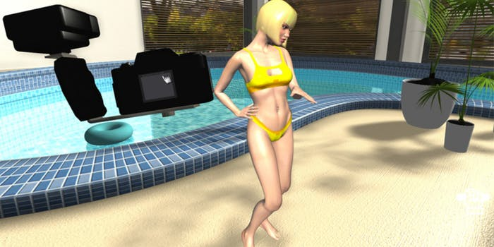 XStoryPlayer character poses by the pool while the player uses a camera.