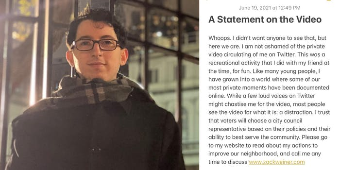 """zack weiner (l) """"A statement on the video"""" addressing private video circulating on Twitter (r)"""