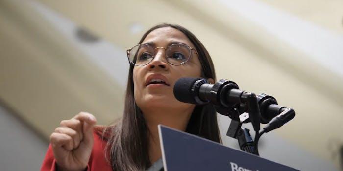 Rep. Alexandria Ocasio-Cortez (AOC) giving a speech.