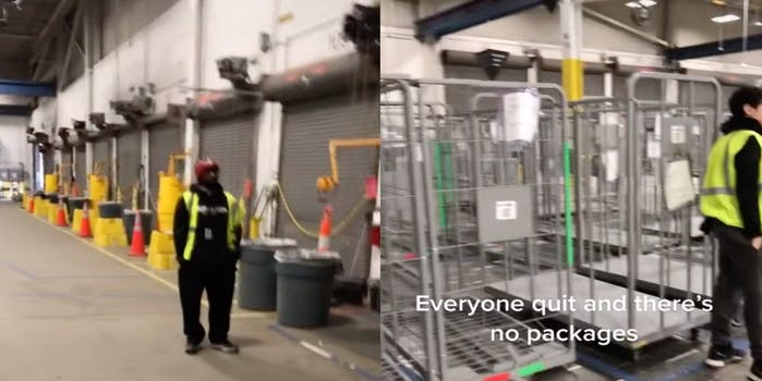 Two panel screenshot from TikTok showing Amazon workers standing around in an empty fulfillment center with no packages