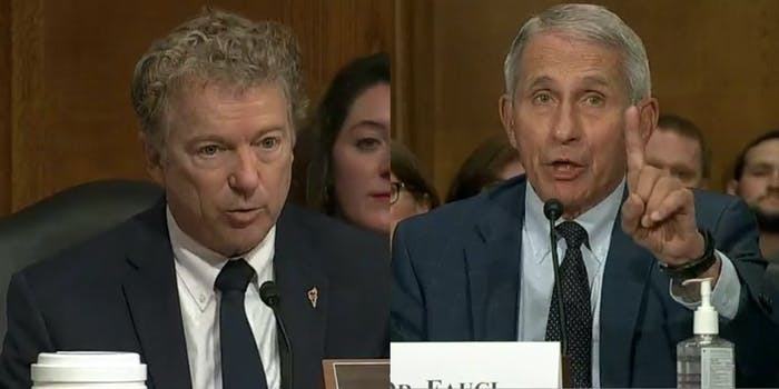 A side by side of Sen. Rand Paul and Dr. Anthony Fauci at a Senate hearing.