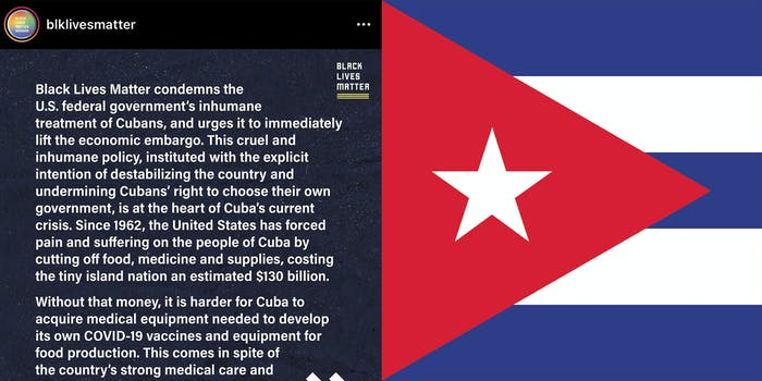 Words (L) and the Cuban flag (R).