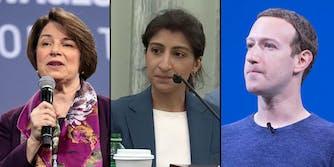 Three panels showing Sen. Amy Klobuchar, FTC Chairwoman Lina Khan, and Facebook CEO Mark Zuckerberg.