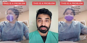 Three panel screenshot from TikTok where a doctor calls out a healthcare worker who filmed herself ignoring a patient in distress for getting COVID after being vaccinated