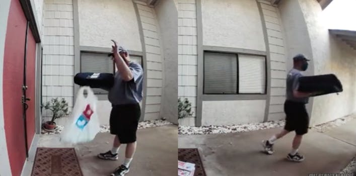 domino's delivery worker throws customer's order down