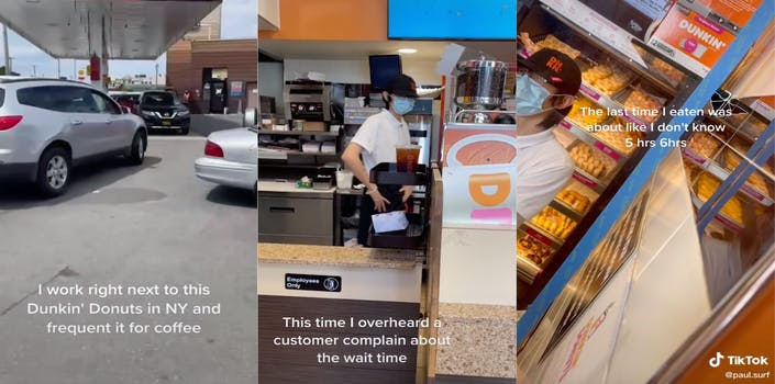 Three screenshot panel from a TikTok where a man asks a Dunkin' employee about his working conditions