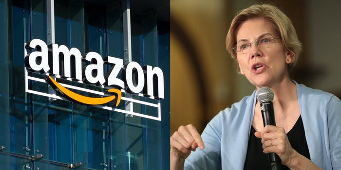 A side by side of a building with the Amazon logo and Sen. Elizabeth Warren.