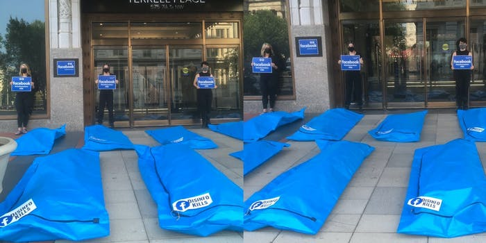Two photos of a protest outside of Facebook's HQ in Washington. The photos show blue body bags with stickers on them that have the Facebook logo and 'disinfo kills' written on them.