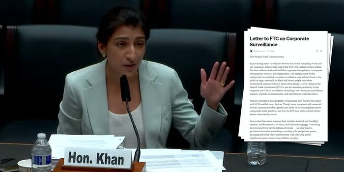 FTC Chairwoman Lina Khan next to a screenshot of a letter advocacy groups sent to the agency urging them to reign in big tech data practices.