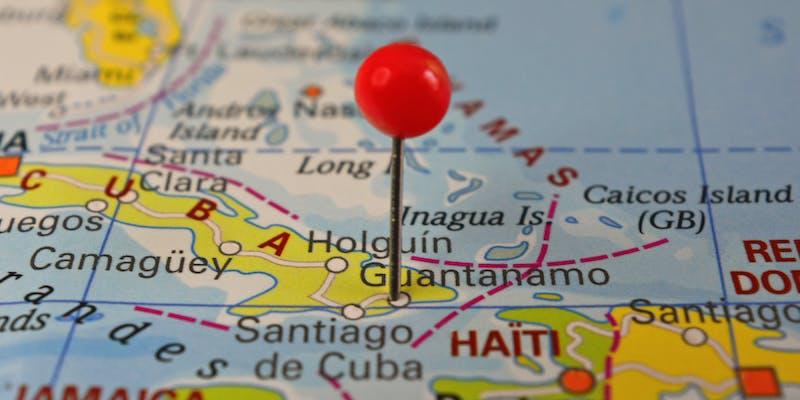 Guantanamo Bay pinned on map, Cuba