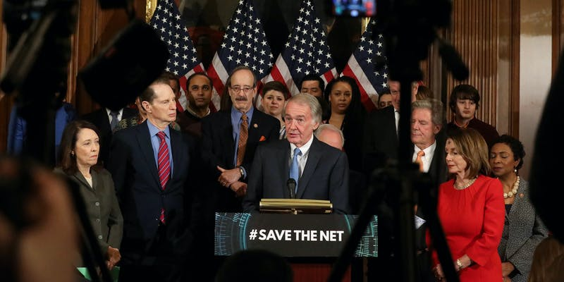 A group of Democratic lawmakers unveiling the Save the Internet Act, a bill that would restore net neutrality.