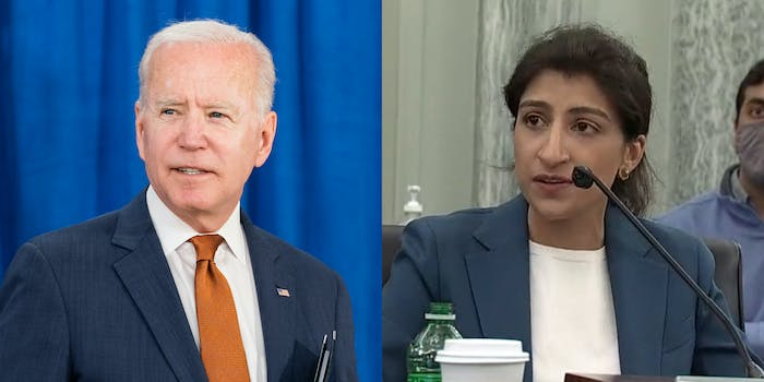 A side by side of President Joe Biden and FTC Chairwoman Lina Khan.
