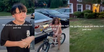 Three panel screenshot from a TikTok where a boy and girl allegedly attacked a man's daughter after which the man pulled a gun on the children