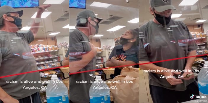"""Three panel screenshot from TikTok showing an argument between a white man and Black woman. The man repeatedly calls the woman """"Shaniqua"""" after arguing about the Black woman being loud in the store."""