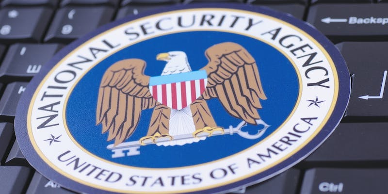 The logo of the NSA on top of a keyboard.