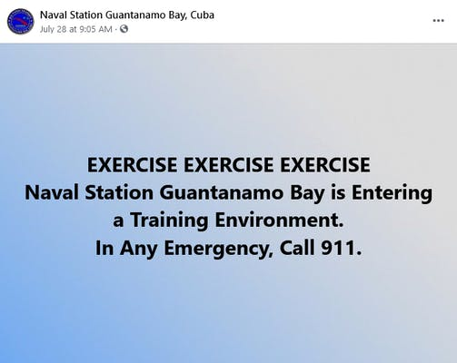 A Facebook post from the Naval Station Guantanamo Bay, Cuba page.