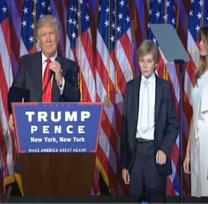 barron trump next to melania in 2016, showing how tall is barron trump in 2016
