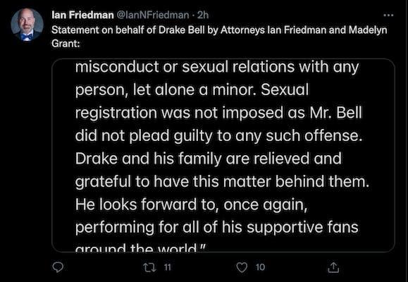 Drake Bell Attorney Statement