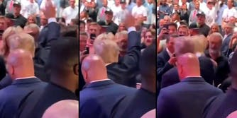 Three screenshots of actor Mel Gibson saluting Donald Trump at a UFC event.